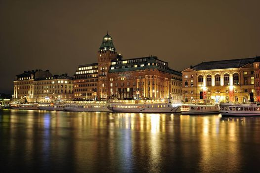 Night scenery of Stockholm, Sweden.
