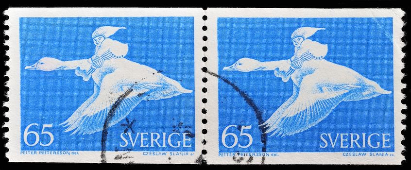 SWEDEN - CIRCA 1967: a stamp printed in the Sweden shows Nils Holgersson Riding Wild Goose, circa 1967