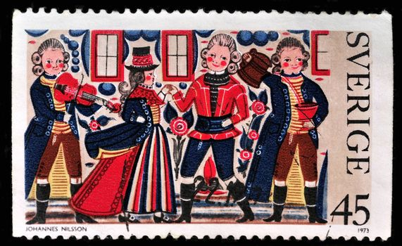 SWEDEN - CIRCA 1973: A stamp printed in the Sweden shows painting from Dalarna, circa 1973