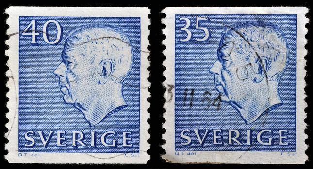 SWEDEN - CIRCA 1961: stamp printed by Sweden, shows King of Sweden Gustaf VI Adolf, circa 1961.