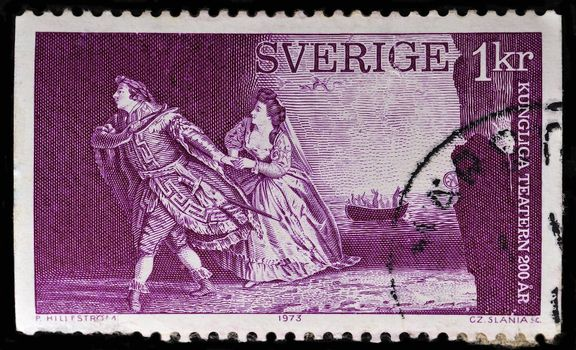 SWEDEN - CIRCA 1973: stamp printed by Sweden, shows Orpheus and Eurydice by Christoph Gluck, circa 1973
