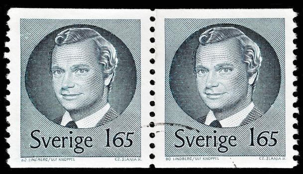 """SWEDEN - CIRCA 1981: A stamp printed in Sweden, shows portrait of king Carl XVI Gustaf of Sweden, without the inscriptions, from the series """"King Carl XVI Gustaf"""", circa 1981"""