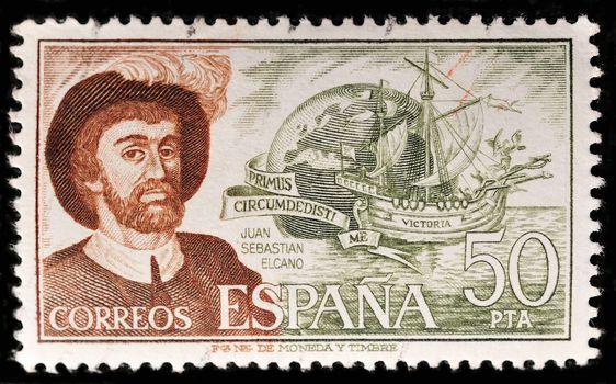 SPAIN - CIRCA 1978: A stamp printed in SPAIN shows Juan Sebastian Elcano, circa 1978