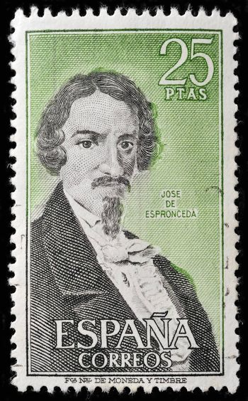 SPAIN - CIRCA 1972: stamp printed by Spain, shows Jose de Espronceda, famous romantic spanish poet, circa 1972