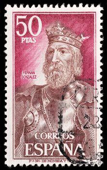 SPAIN - CIRCA 1972: A stamp printed in Spain shows Fernan Gonzalez of Castile, circa 1972