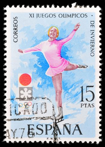 SPAIN - CIRCA 1989: A stamp printed by spain shows the figure skating. , circa 1989