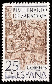 SPAIN - CIRCA 1976: A stamp printed in Spain shows image celebrating the bimillenium of Zaragoza, circa 1976