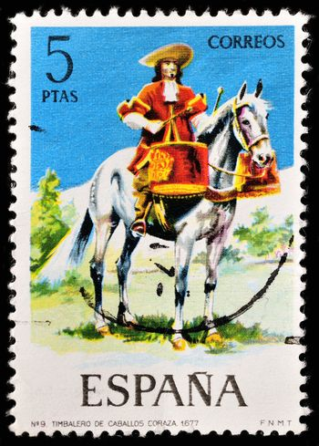 SPAIN - CIRCA 1974: a stamp printed in the Spain shows Mounted Drummer of the Dragoons, 1677, Uniform, circa 1974