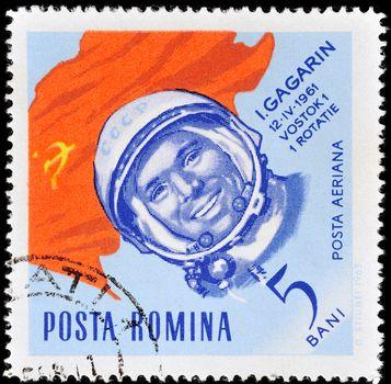 ROMANIA - CIRCA 1964: Postage stamp printed in Romania shows the first cosmonaut Yuri Gagarin, circa 1964