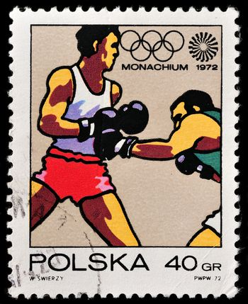 POLAND - CIRCA 1972: A stamp printed in POLAND shows Boxing - Olympic Games in Munich, from series, circa 1972