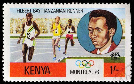 KENYA - CIRCA 1976: A stamp printed in Kenya shows image people running, circa 1976.
