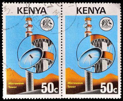 KENYA - CIRCA 1977: stamp printed in Kenya, shows Microwave tower, circa 1977.