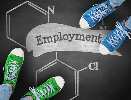 Employment against black background