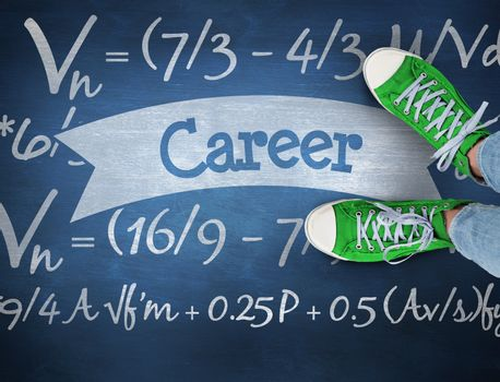 Career against blue chalkboard