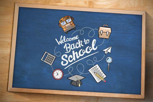 back to school against chalkboard