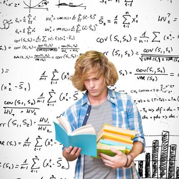 Student reading against maths equations