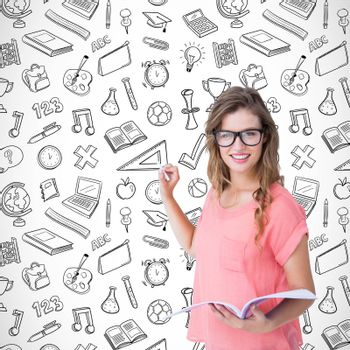 Hipster woman holding notebook  against school wallpaper
