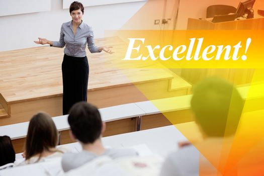 Excellent! against teacher standing talking to the students