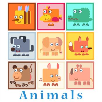 Set animals baby style birds amphibians insects Pets