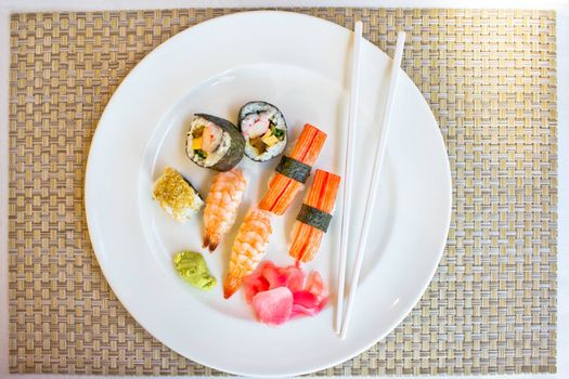 sushi set in white plate