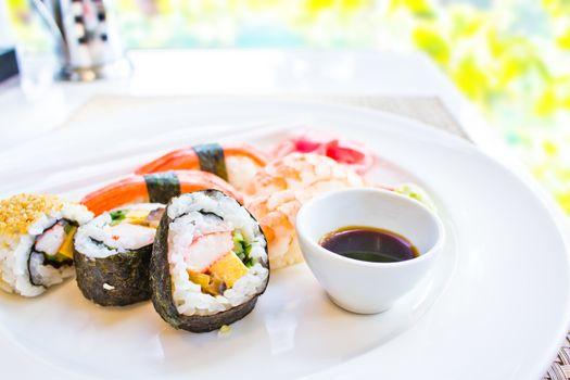 Sushi set with blur background