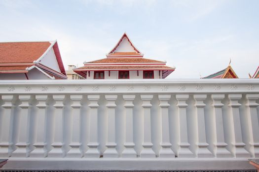 white wall of thai tample