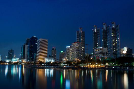 Bangkok city at night with reflection of skyline, Bangkok,Thaila