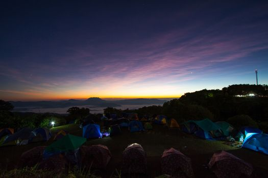 morning on the mountains tent bivouac