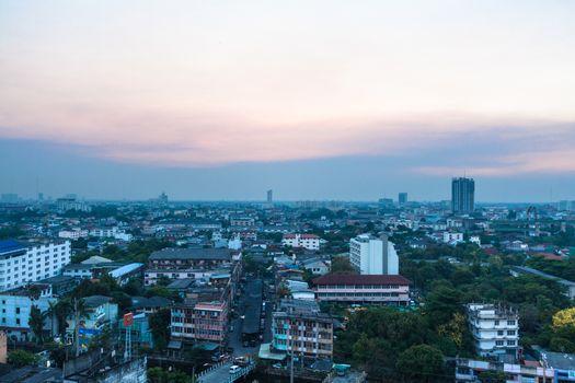 Sunset over Bangkok City