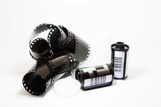 35mm film strip over white