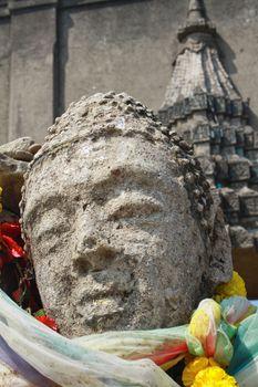 Head of Sandstone Buddha at Ruin Temple Thailand
