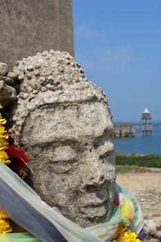 Head of Sandstone Buddha at Ruin Temple, Thailand