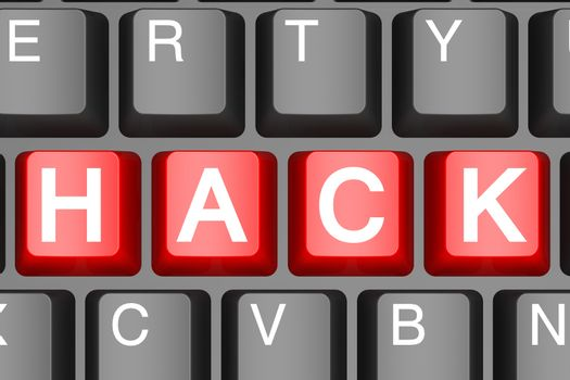Red hack button on modern computer keyboard