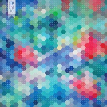 Colorful background with a hexagon pattern.