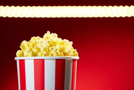 Bowl Filled With Popcorns For Movie Night With Textspace