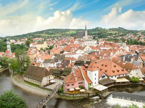 Cesky Krumlov aerial view with medievalo architecture and Vltava