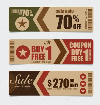 Illustration with set of sale tags.