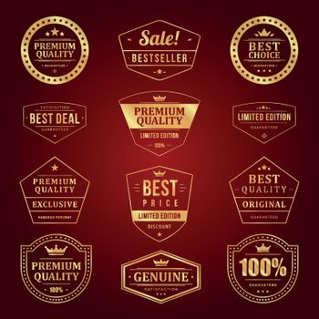 Set of labels with the text premium quality.