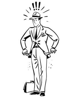 Poverty money businessman with empty pockets line art retro sket