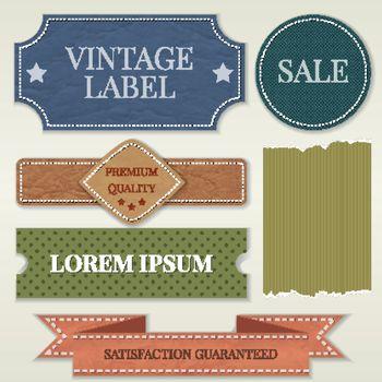 Illustration with vintage badges and labels.