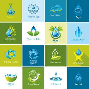 Set of water symbols and logos.