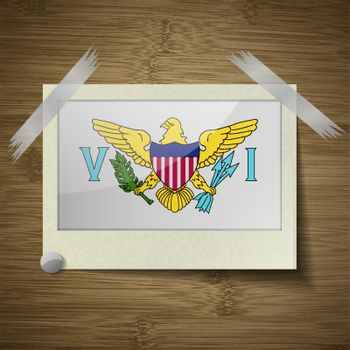 Flags VirginIslandsUS at frame on wooden texture. Vector