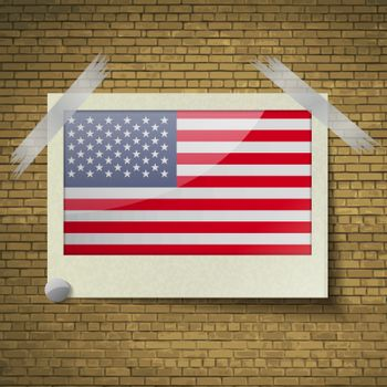 Flags USAat frame on a brick background. Vector