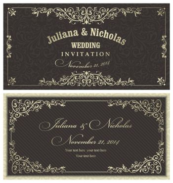 Set of a classic wedding invitation.