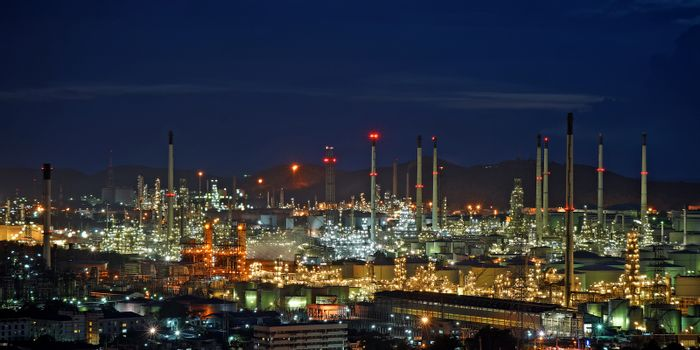 Oil refinery with beautiful sky background