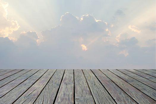 wooden floor with beautiful sunbeam