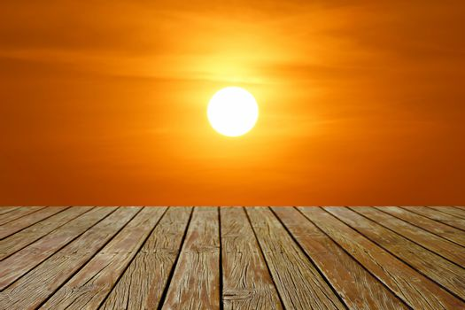 wooden floor with beautiful sunset