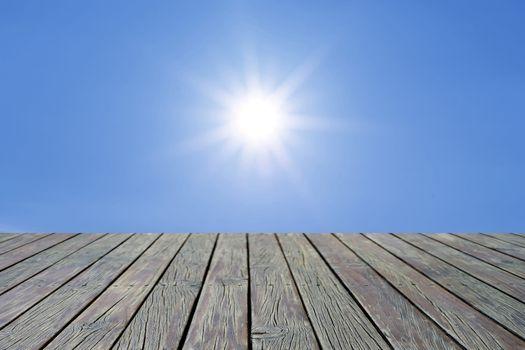 wooden floor with beautiful sunlight