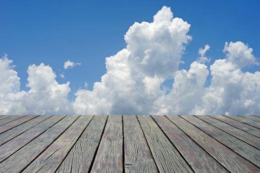 wooden floor with beautiful cloud