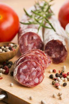 slices of spanish pork sausage